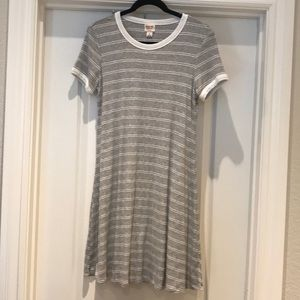 Mossimo grey/white striped dress sz M